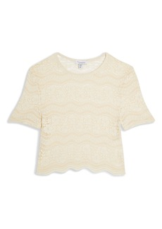 Topshop Scalloped Lace Sheer Crop Top