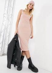 Topshop seam detail body-conscious midi dress in pink