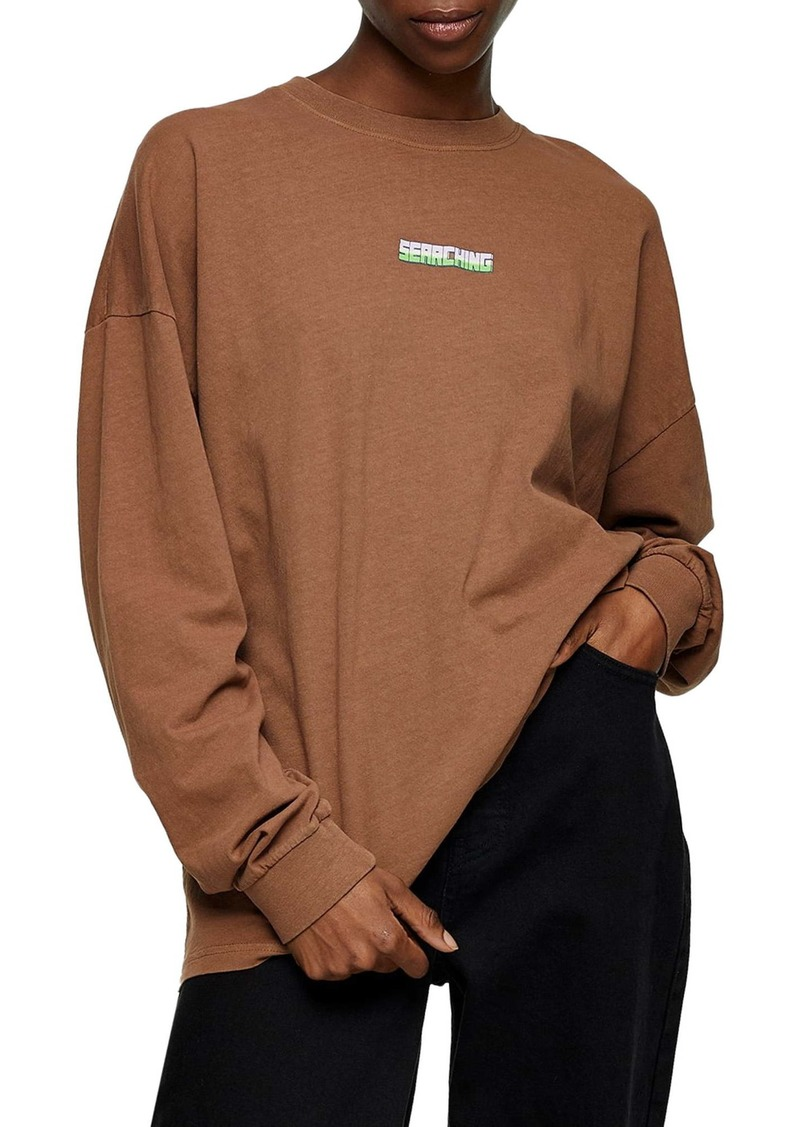 Topshop Searching Long Sleeve Skater Graphic Tee