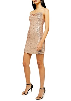 Topshop Sequin Cowl Neck Minidress