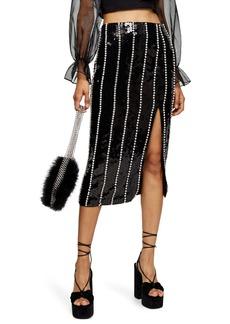 Topshop Sequin Diamante Stripe Skirt