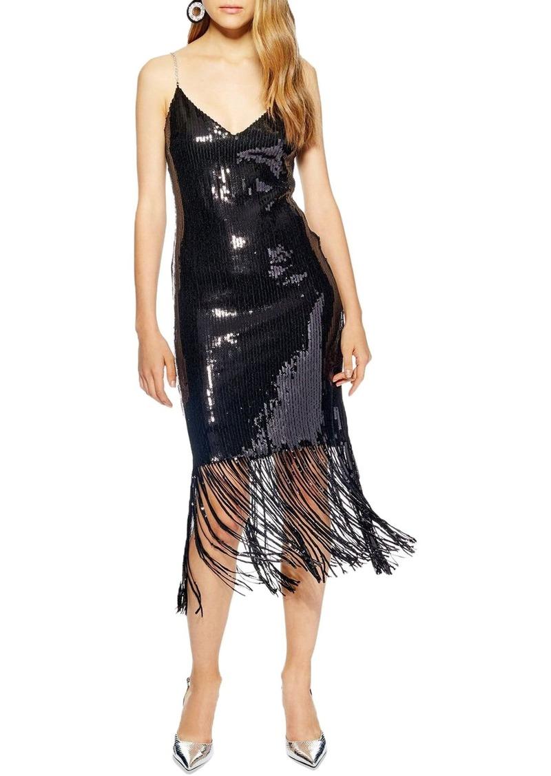 Topshop Sequin Fringe Dress