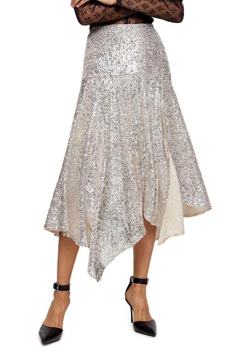 Topshop Sequin Handkerchief Skirt
