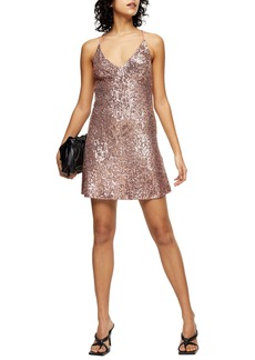 Topshop Sequin Open Back Minidress