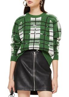 Topshop Sequin Plaid Sweater