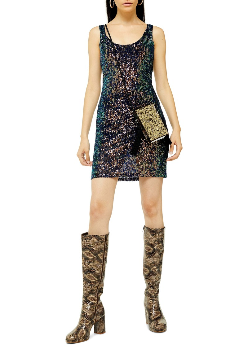 Topshop Sequin Scoop Sleeveless Minidress