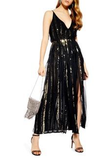 Topshop Sequin Stripe Chiffon Maxi Dress