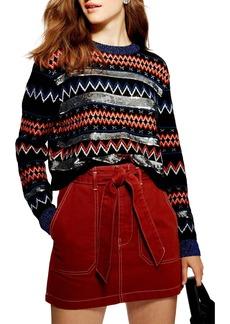 Topshop Sequin Stripe Fair Isle Sweater