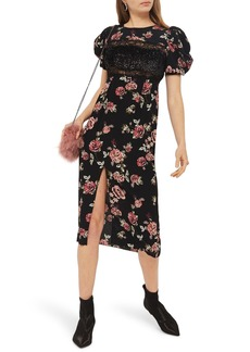 Topshop Sequined Floral Puff Sleeve Midi Dress
