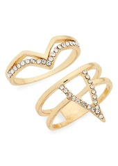 Topshop Set of 2 Crystal V Rings