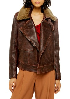 Topshop Shearling Collar Leather Jacket
