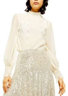 Topshop Sheer Embroidered Cutwork Blouse