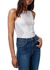 Topshop Sheer Mesh & Airtex Bodysuit