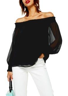 Topshop Sheer Off the Shoulder Blouse