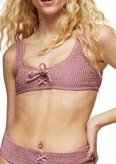 Topshop Shirred Crop Bikini Top