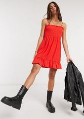 Topshop shirred mini dress with flippy hem in red