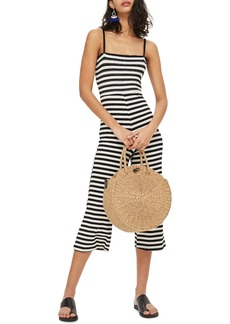 Topshop Shirred Top Stripe Jumpsuit