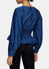 Topshop Shirred Waist Blouse