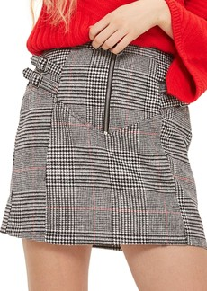 Topshop Side Buckle Check Miniskirt