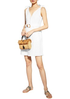 Topshop Sleeveless Broderie Buckle Minidress
