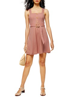 Topshop Sleeveless Button Front Belted Minidress
