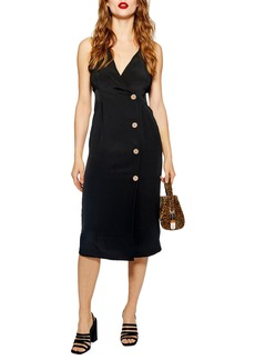 Topshop Sleeveless Button Front Sheath Dress