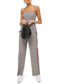 Topshop Sleeveless Check Stripe Jumpsuit