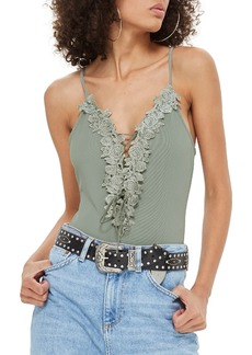 Topshop Sleeveless Floral Appliqué Bodysuit