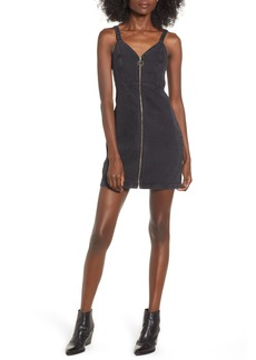 Topshop Sleeveless Front Zip Denim Dress