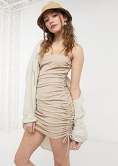 Topshop sleeveless ruched side mini dress in beige