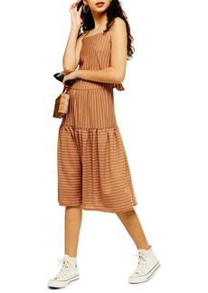 Topshop Sleeveless Stripe Linen Midi Dress