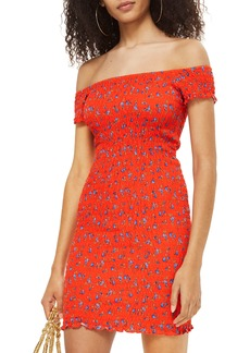 Topshop Smocked Ditsy Body-Con Dress