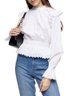 Topshop Smocked Embroidered Blouse