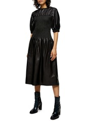 Topshop Smocked Faux Leather Dress