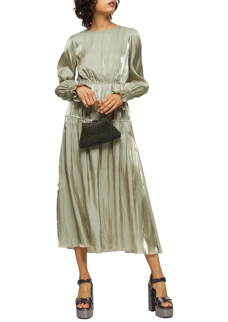 Topshop Smocked Long Sleeve Midi Dress