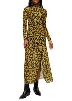 Topshop Smudge Mesh Long Sleeve Midi Dress