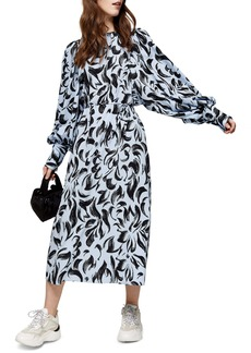 Topshop Smudge Oversize Balloon Long Sleeve Dress