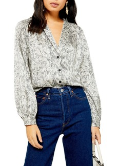 Topshop Smudge Spot Scallop Button-Up Shirt (Regular & Petite)