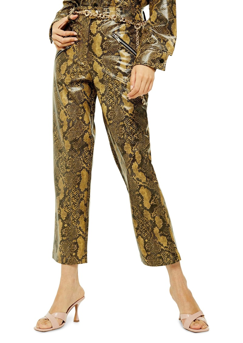 Topshop Snake Pattern Faux Leather Trousers