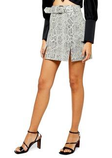 Topshop Snake Print Belted Leather Miniskirt