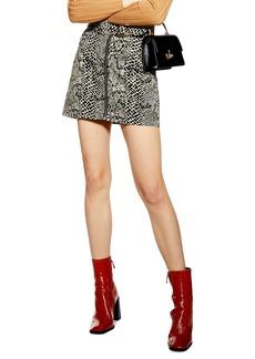 Topshop Snake Print Buckle Denim Skirt