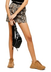 Topshop Snake Print Denim Miniskirt