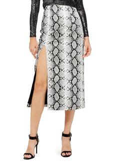Topshop Snake Print Faux Leather Midi Skirt