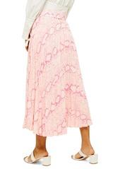 Topshop Snake Print Midi Skirt