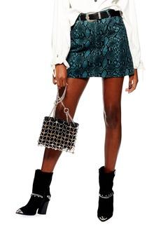 Topshop Snake Print Miniskirt