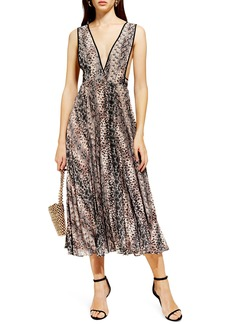 Topshop Snake Print Pleated Dress