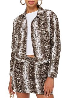 Topshop Snakeskin Print Denim Jacket