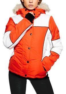 Topshop Sno Faux Fur Trim Puffer Jacket