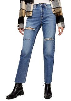 Topshop Sofia Ripped Straight Leg Jeans (Regular & Petite)