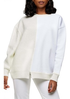 Topshop Spliced Jersey Knit Sweater